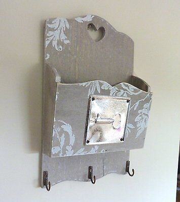 New Shabby Chic Wall Letter Rack and Key Hooks Wood Storage for Hallway