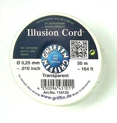 Griffin Illusion cord NON STRETCH clear nylon cord .25mm for crystal glass beads