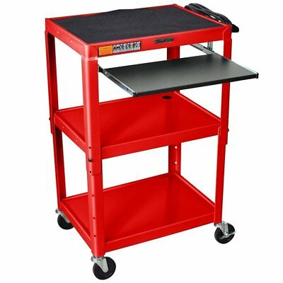 Luxor Adjustable Height Steel Cart with Pullout Keyboard Tray, AVJ42KB-RD New