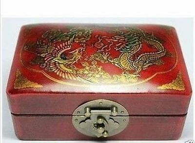 New Chinese Old Wood Leather Handwork Painting Dragon phoenix Box