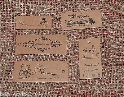 10/25/50 Kraft 'handmade/ Knitted' Brown Paper Label Tags #crafts/gift Wrapping