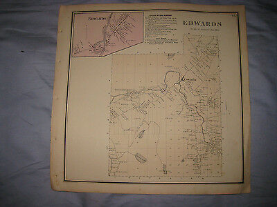 Antique 1865 Edwards St Lawrence County New York Handcolored Map Superb Rare Nr