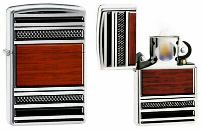 Zippo Steel And Wood Pipe Lighter, High Polish Chrome, Genuine Windproof #28676
