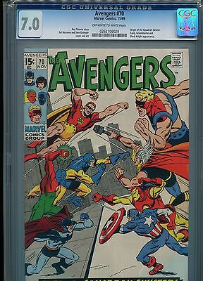 Avengers #70 (Origin Squadron Sinister)  CGC 7.0 OW-WP