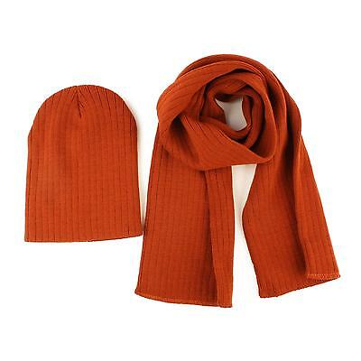 Winter 2pc Soft Boys Kids Age 4-7 Knit Ribbed Beanie Ski Hat Cap Scarf Set Rust