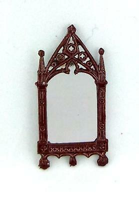 Dolls House Artisan Miniature Accessory Small Brown Metal Cathederal Mirror