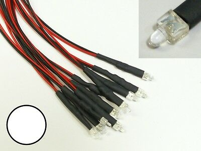 S873 - 5 pcs LED 2mm White Clear with Cable for 12-19V READY WIRED LEDS
