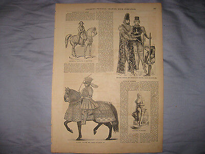 Antique 1853 Ancient Costume Military Fashion Print Middle Ages Armor Arms Nr