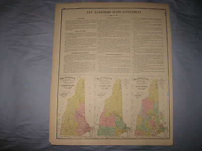 Antique 1892 Errol Randolph New Hampshire & Political Government Map Coos County