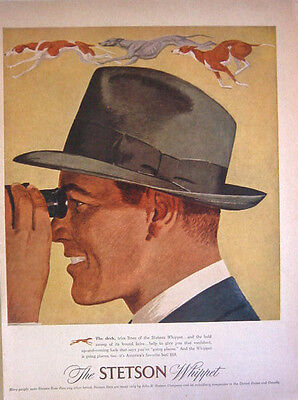 1948 THE STETSON WHIPPET HAT Sleek Trim Lines -  Print Ad!