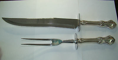 Frank Whiting Sterling Carving Knife / Fork- Georgian Shell - No Mono - #1305