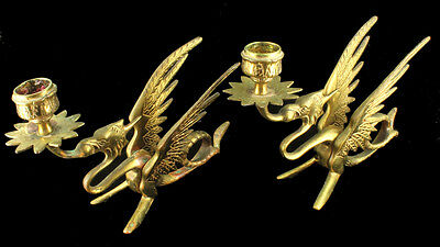 Antique Victorian Pair Brass Dragon Griffin Candlestick Holders Finger Loop Goth