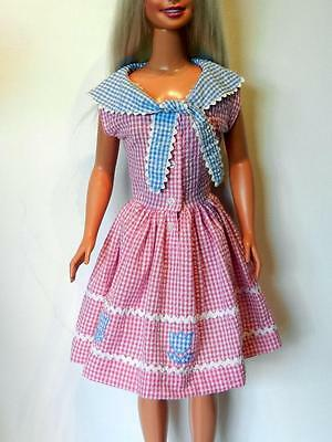 My Size Barbie Pink & White Gingham Pique Dress w Blue Gingham Collar & Tulips