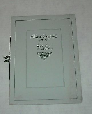 1902 MUSICAL ART SOCIETY of NY 9th SEASON 2nd CONCERT CARNEGIE HALL BOOKLET
