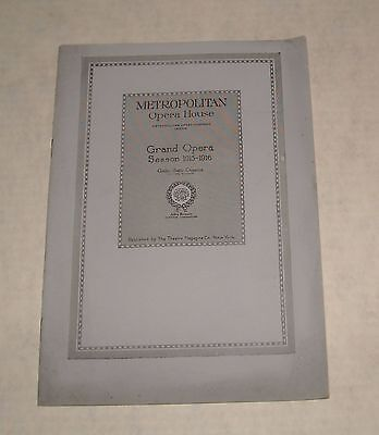 Metropolitan Opera House 1915 - 16 Season Theatre Program Booklet Humperdinck