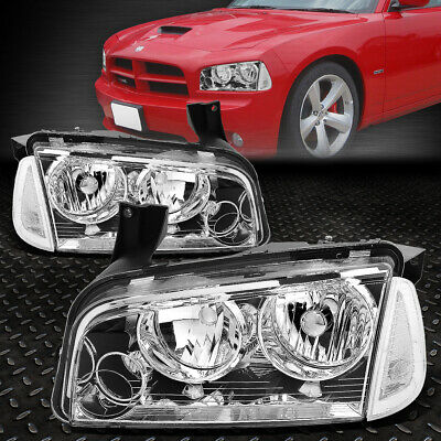 For 2006-2010 Dodge Charger Pair Chrome Houisng Headlight+Clear Turn Signal Lamp