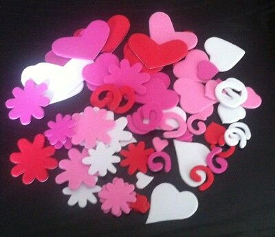 60 Foam Stickers ~ Flowers / Hearts / Swirls ~ 15mm-55mm