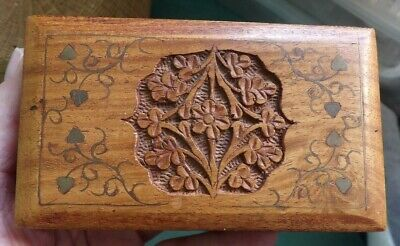 Fab Carved & Inlaid Niceley Made  Wooden Trinket, Or, Jewellery Box