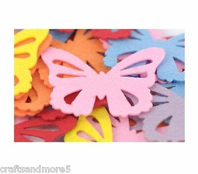 12 Felt Butterfly Shapes ~ 65mm ~ Various Colours ~ Great For Scrapbooking