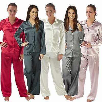 Ladies Satin Silk Pyjama Set Long Sleeve Sizes 10-22 Silky Pjs Nightwear Gift