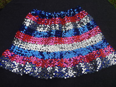 Vintage Girls SPARKLY Sequined Skirt Royal Blue Silver Bright Pink Sz. 5 / 6