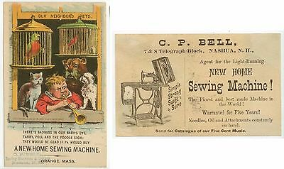 1882 New Home Sewing Machine Nashua NH trade card - Our Neighbor's Pets