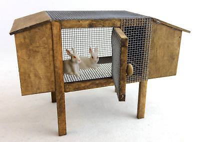 Dolls House Miniature Garden Accessory Wooden Rabbit Hutch with Two Pet Rabbits