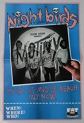 """Nightbirds - Mutiny at Muscle Beach Promo Poster - 11"""" x 17"""" rare limited"""