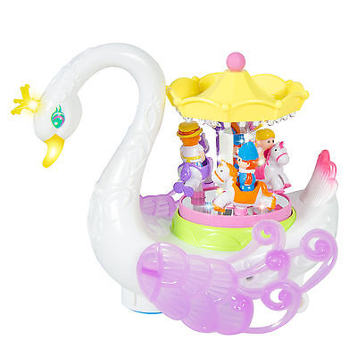 Kids Toy Musical Rotating Horses Carousel Music Box on Self Riding Swan Animal