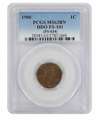 1980 Lincoln Cent PCGS MS63BN DDO FS-101 Cherrypicker Double Die Obverse