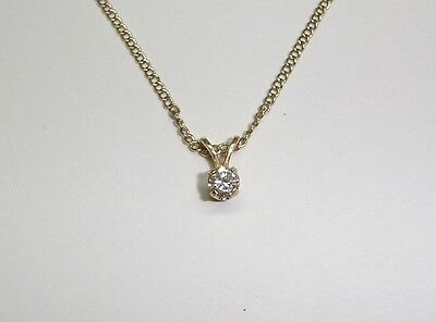 "Solitaire Round Cut Diamond Pendant Necklace Set In 14K Yellow Gold 17.5"" N326-W"