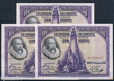 TRIO CONSECUTIVE EXTREMELY RARE BANKNOTE SPAIN 100 PESETAS 1928 AUNC-!!! Fold