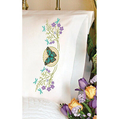 Dimensions Stamped Cross Stitch Kit - Butterfly Meadow Pillow Cases