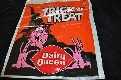 Vtg DAIRY QUEEN 1969 Plastic Halloween Friendly Witch Trick or Treat Bag Ice Cre