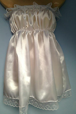 white satin dress adult baby fancy dress sissy french maid cosplay chest 36-52