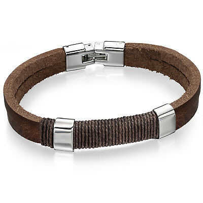 Fred Bennett brown leather and cotton cord bracelet - Designer Jewellery for men