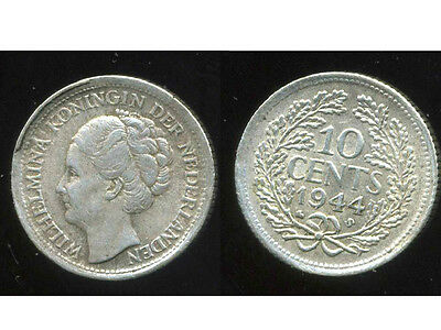 PAYS BAS  10 cents 1944  S   argent silver