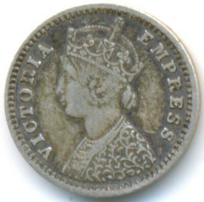 India British Queen Victoria Silver 2 Annas 1891 Bombay VF