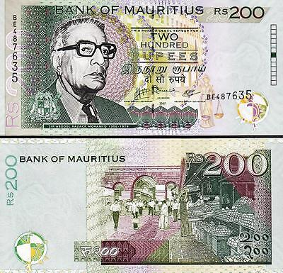 MAURITIUS 200 RUPEES 2007 UNCIRCULATED P.57b