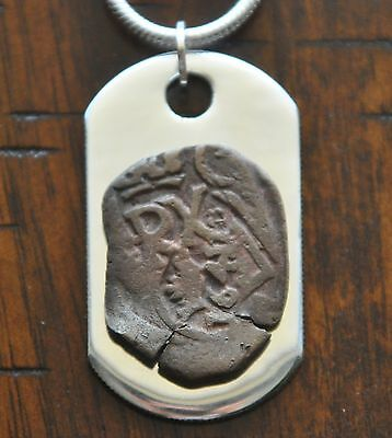 Authentic Pirate Shipwreck Cob Coin Necklace 925 Sterling Silver Dog Tag & Chain