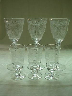6 Pc Tiffin Franciscan Byzantine Elegant Etch Water Wine Goblets & Juice Glasses