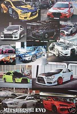 "MITSUBISHI EVO ""COLLAGE OF 13 LANCER SPORTS CARS"" POSTER  - Japan, Evolution"