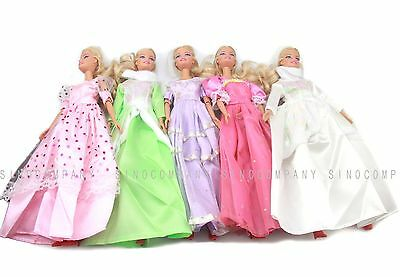 New 5pcs Princess Wedding Dress Party Gown Clothes Outfits For Barbie Doll B204