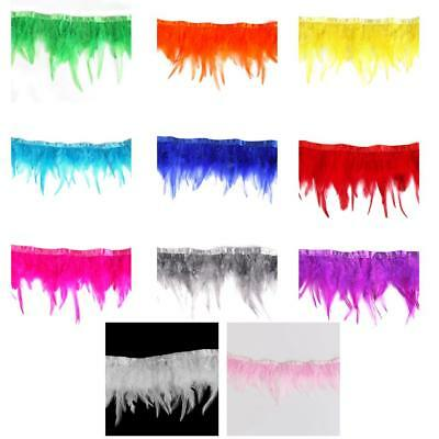 Rooster Hackle Feather Fringe 11 Colours 1 Yard Craft/Sewing/Costume/Millinery