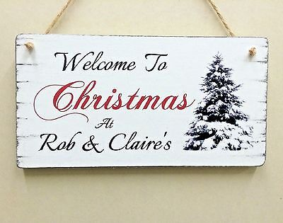 Large Personalised Christmas Signs Shabby Vintage Chic Christmas Tree Gift