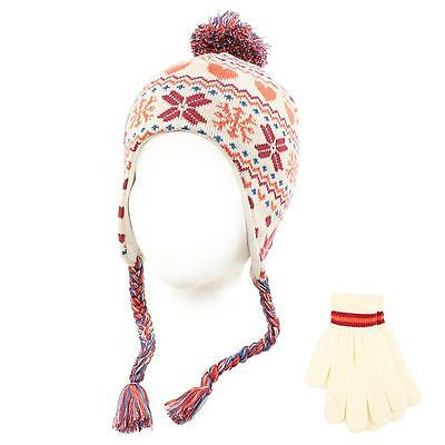 Winter 2pc Lined Girls Kids Age 4-6 Knit Trapper Beanie Ski Hat Glove Set Ivory
