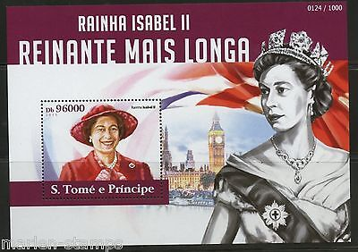 Sao Tome  2015 Queen Elizabeth Longest British Monarch S/s  Mint Nh