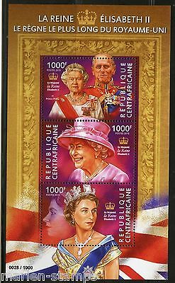 Central Africa 2015 Queen Elizabeth Longest British Monarch Sheet  Mint Nh