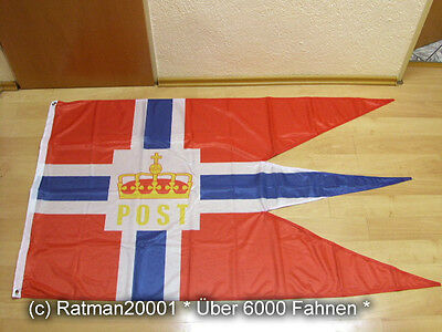 Fahnen Flagge Norwegen Postflagge Hurtigruten Digitaldruck 90 x 150 cm