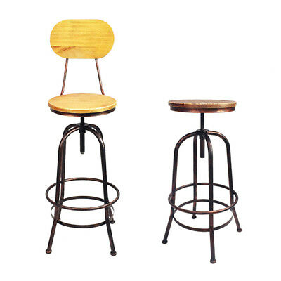 Retro Industrial Bronze Swivel Steel Bar Stools Kitchen Dining Counter Chairs Vi